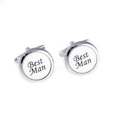 Rhodium Plated Round Best Man Cufflinks