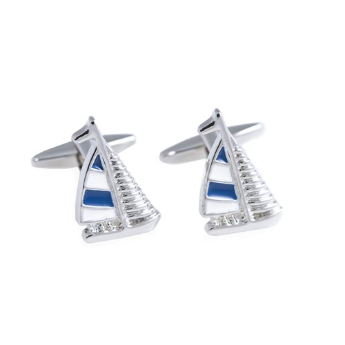 Rhodium Plated Blue and White Sail Boat Design Cufflinks
