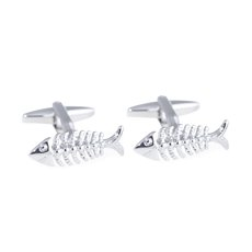 Rhodium Plated Scaled Fish Design Cufflinks