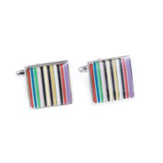 Rhodium Plated Square Cufflinks with Stripes Design