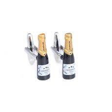 Rhodium Plated Champagne Bottle Design Cufflink with Gold Accents