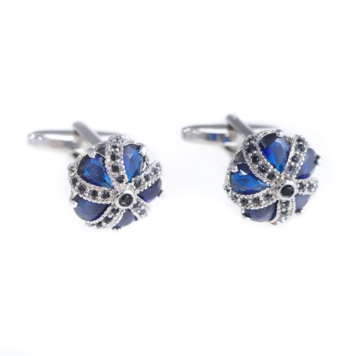 Rhodium Plated Blue Crown Cufflinks