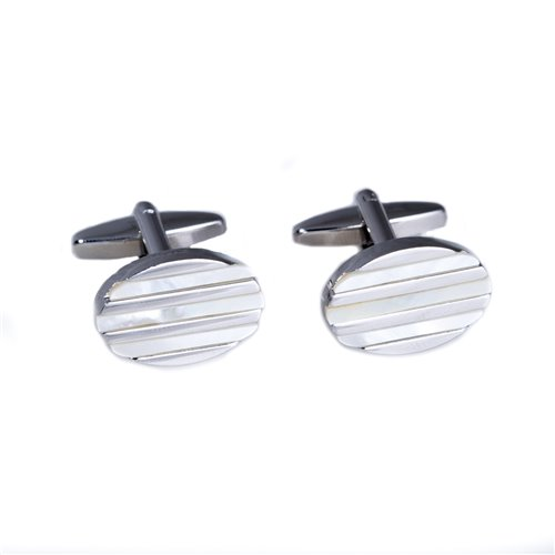 Rhodium Plated Oval Mother of Pearl Cufflinks with Lined Accents