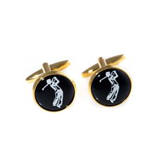Gold Plated Cufflinks Golfer Design