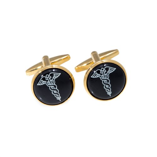 Gold Plated Cufflinks with Caduceus