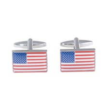 Rhodium Plated Cufflinks with USA Flag Design
