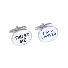 Rhodium Plated Cufflinks with Trust Me and I'm a Lawyer