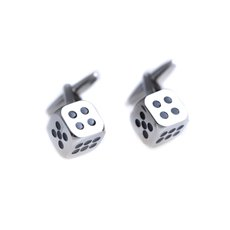 Rhodium Plated Dice Cufflinks