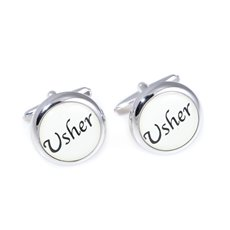 Rhodium Plated Cufflinks Usher Design