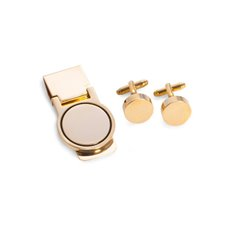 Gold Plated Circular Design Cufflink and Money Clip Set