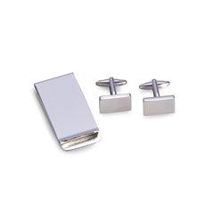 Silver Plated Rectangular Design Cufflinks and Money Clip Set