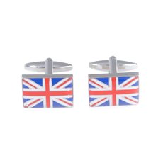 Rhodium Plated Cufflinks with Union Jack Design
