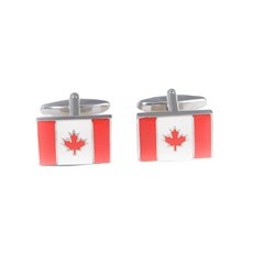 Rhodium Plated Cufflinks with Canadian Flag
