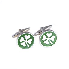 Rhodium Plated Cufflinks with Green Enamel Four Leaf Clover