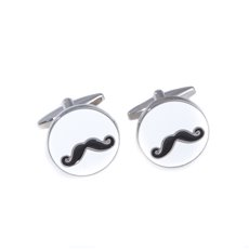 Rhodium Plated Cufflinks with Mustache Design