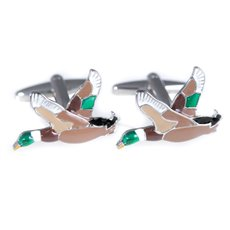 Rhodium and Enamel Painted Cufflinks with Ducks In Flight Design