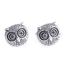Rhodium Plated Cufflinks with Owl Design