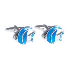 Rhodium and Enamel Painted Cufflinks Fish Design