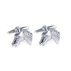 Rhodium Plated Cufflinks Horse Design