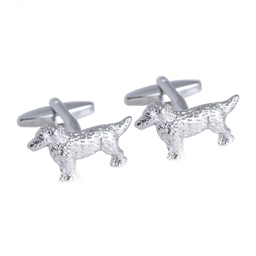 Rhodium Plated Cufflinks with Dog Design