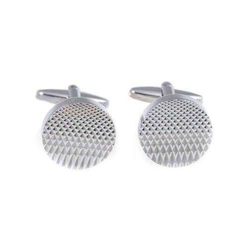 Rhodium Plated Textured Round Cufflinks