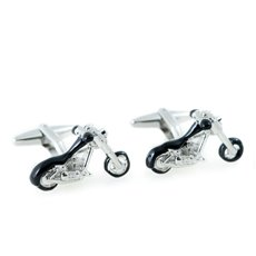 Rhodium Plated and Black Enamel Motorcycle Design Cufflinks
