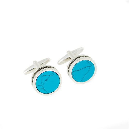 Rhodium Plated Turquoise Cufflinks