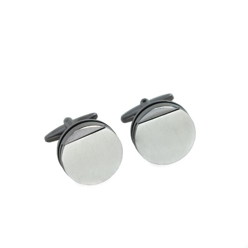 Rhodium Plated Gunmetal Round Cufflinks