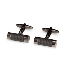 Gunmetal Finished Round Bar Cufflinks