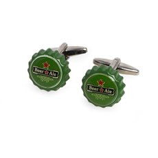 Beer Cap Rhodium Plated Cufflinks