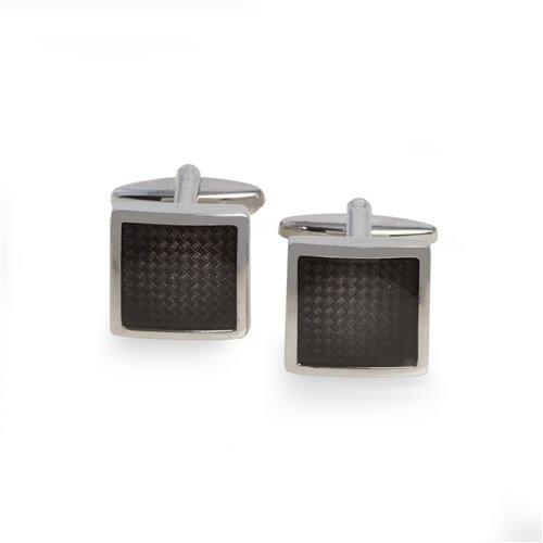 Carbon Fiber Rhodium Plated Cufflinks