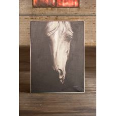 Oil Painting Black and White Front Viewith Horse with Silver Frame