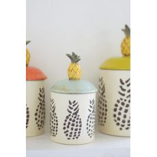 Ceramic Pineapple Canisters Set of 3