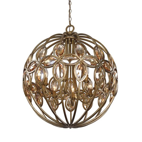 Uttermost Ambre 8 Light Gold Sphere Chandelier