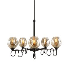 Uttermost Fritz 5 Light Gold Glass Chandelier
