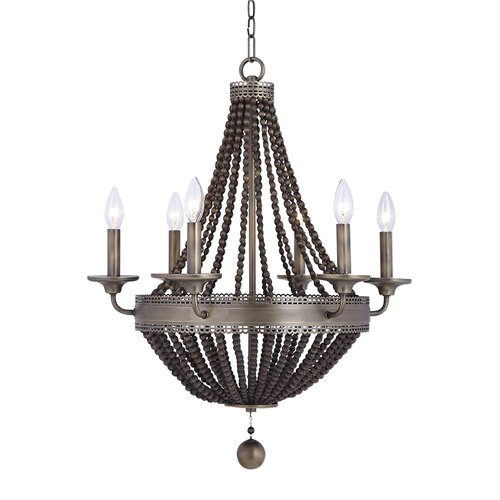 Uttermost Thursby Brass 6 Light Beaded Chandelier
