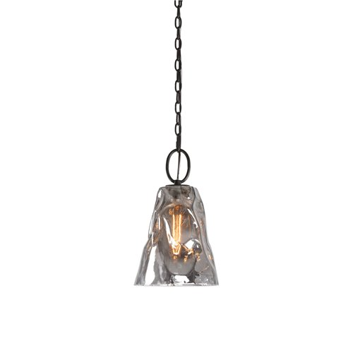 Uttermost Drappo Smoked Glass 1 Light Mini Pendant