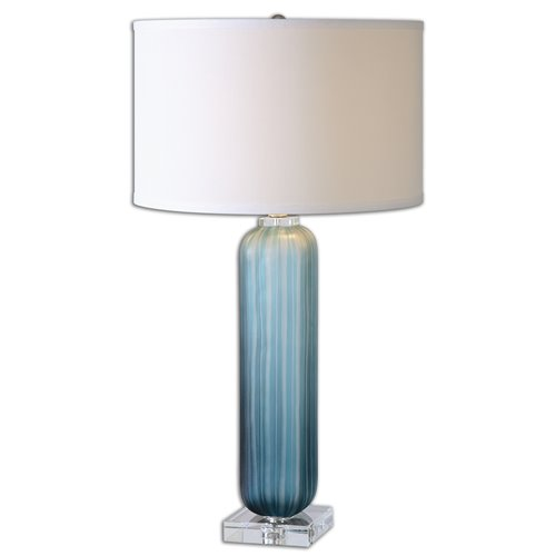 Uttermost Caudina Frosted Blue Glass Lamp
