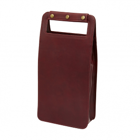 Leather Two Bottle Wine Carrier, Sonoma Burgundy