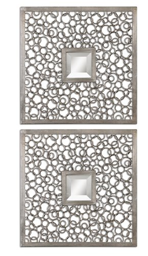 Uttermost Colusa Squares Silver Mirror Set/2