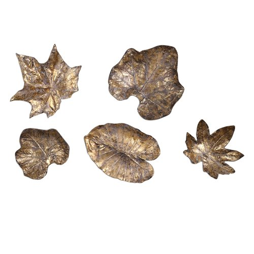Uttermost Bronze Leaves Wall Art Set/5