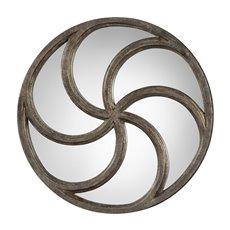 Uttermost Spiralis Antiqued Silver Round Mirror