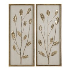 Uttermost Branching Out Gold Leaf Panels Set/2