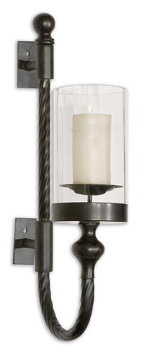 Uttermost Garvin Twist Metal Sconce With Candle