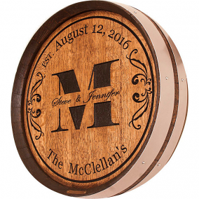 Monogram Wedding Barrel Head Carving Wall Art