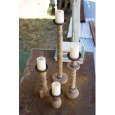 Recycled Turned Wood Candle Holders Set of 4