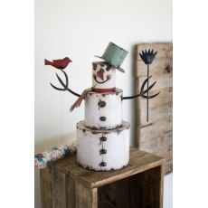 Recycled Painted Iron Snowman With Bird