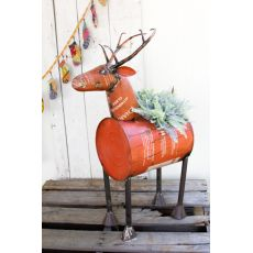 Red Reclaimed Metal Barrel Deer Pler Of Cooler