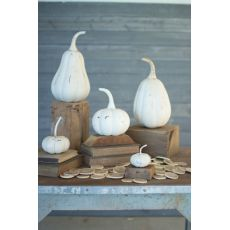 Recycled Iron Pumpkins - Distressed White Set of 5