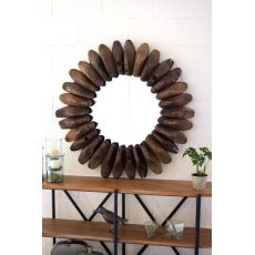 Round Wooden Shoe Mold Mirror